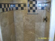 Tile Work on The Walls Of The Shower
