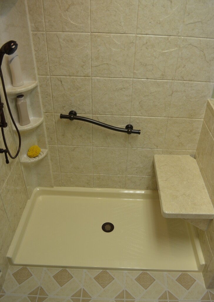 Roll-In Shower w/Sierra Sand Wall Surround, Grab Bar, Seat Bench & Tower Caddy